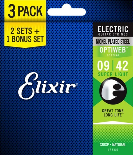 Elixir 16550 Nickel Plated Steel Optiweb Electric Super Light 9-42 3 Pack